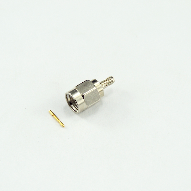 SMA plug straight crimp connector for LMR100A-UF cable 50 ohm 5MAM11S-A02