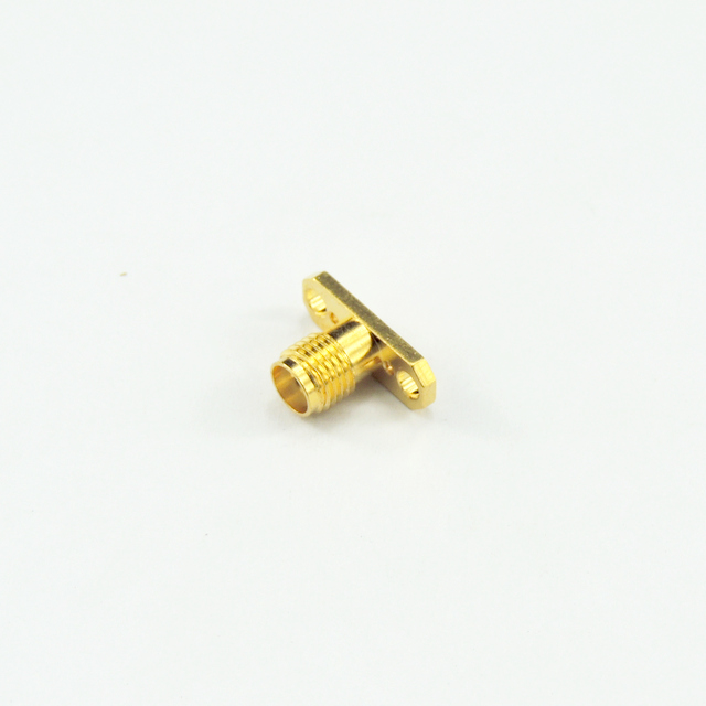 SMA jack straight connector 2 holes flange 50 ohm 5MAF50S-P00-008