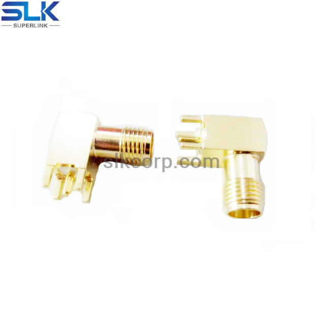 SMA jack right angle connector for pcb through hole 50 ohm 5MAF25R-P41-048