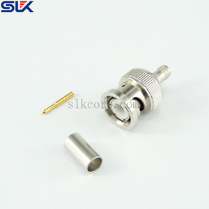 BNC plug straight crimp connector for LMR195 RG58 cable 50 ohm 5BNM11S-A41-001