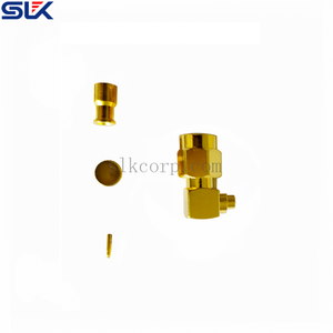 SMA plug right angle solder connector for Tflex-405 cable 50 ohm 5MAM15R-A82-010