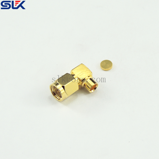 "SMA plug right angle solder connector for .141"" cable 50 ohm 5MAM15R-S02-040"