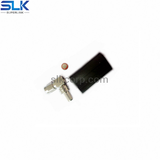SMA plug right angle crimp connector for TCOM-200 cable 50 ohm 5MAM11R-A200