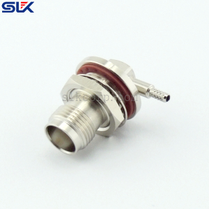 TNC jack right angle solder connector for RG-316D cable bulkhead rear mount 50 ohm 5TCF31R-A50