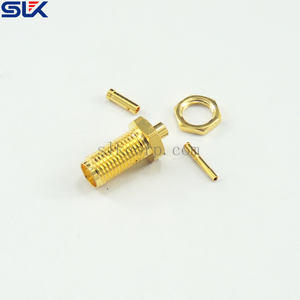 SMA jack straight connector for RG316D cable bulkhead front mount 50 ohm 5MAF11S-A50-005